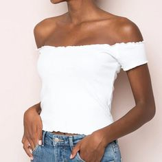 High Elastic White Off Shoulder T-Shirt Cropped Top - FashionandLove.com