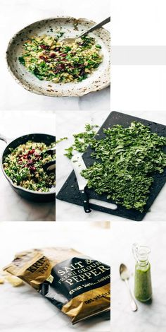 Garlic Kale and Brown Rice Salad with Zippy Lemon Dressing – All Recipes Salt And Pepper Chips, Brown Rice Salad, Garlic Kale, Juice Of One Lemon, Stuffed Mushrooms, Stuffed Peppers, Lemon Herb