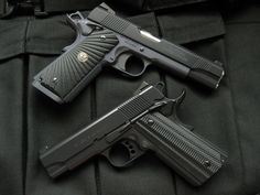"""Some of the finest pistols known to mankind. """"An unarmed man can only flee from evil, and evil is not overcome by fleeing from it. 1911 Grips, 1911 Pistol, Colt M1911, Revolvers, Wilson Combat 1911, Jeff Cooper, Custom 1911, Cz 75, Hand Cannon"""