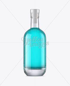 Glass Bottle W/ Liquor Mockup