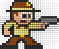 Rick Grimes The Walking Dead Perler Bead Pattern Melty Bead Patterns, Kandi Patterns, Perler Patterns, Beading Patterns, The Walking Dead, Nerd Crafts, 8 Bits, 8bit Art, Minecraft Pixel Art