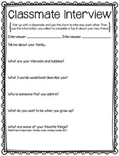 Classmate Interview- Back-to-School Printables for grades 3 and up!Classmate Interview- Back-to-School Printables for grades 3 and up! First Day Of School Activities, 1st Day Of School, Beginning Of The School Year, Middle School, High School, School Resources, Social Skills Activities, Writing Activities, Writing Ideas