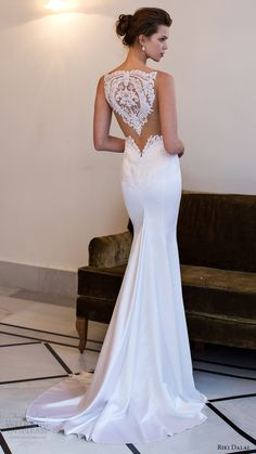 riki dalal bridal 2016 sleeveless modified deep v neck illusion jewel lace bodice sheath wedding dress (1806) bv elegant train sheer back