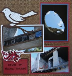 Herculaneum Naples Travel scrapbook page with a Bird & Branch from Cricut's Picturesque