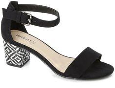 Black Block Heel Sandal with Woven Heel Cover on shopstyle.co.uk