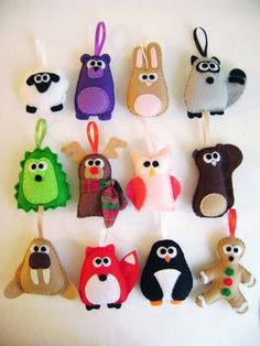 Felt Christmas Ornaments - I like the reindeer with the scarf
