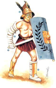 """Mirmidones- """"Casco de esquinas anchas con una alta cresta (les daba aspecto de pez), Pollera corta, Cinturón ancho, Armadura (en la pierna izquierda y el, brazo derecho), Escudo rectangular curvado del legionario romano, Espada gladius"""" Frases Latinas, Marshal Arts, Roman Legion, Through Time And Space, Ancient Rome, Barbarian, Beast, Funny Pictures, Princess Zelda"""