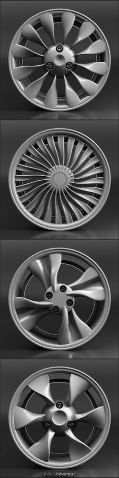 Four car rim concepts created from a single parametric algorithm in Rhino / Grasshopper  #rimdesignchallenge #parametricdesign #design #cardesign #carbodydesign	 #conceptdesign #transportationdesign #rhino3d #grasshopper3d #blender3d  #techdesign #3d #3drender