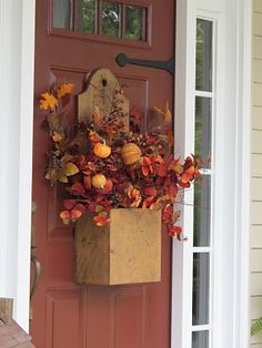 Prim Mustard Box with fall arrangement for front door...love the colors of autumn.
