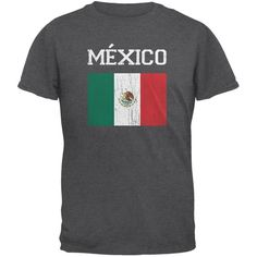 World Cup Distressed Flag Mexico Dark Heather Adult T-Shirt e83cd7cee