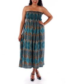Loving this Turquoise Zigzag Strapless Maxi Dress - Plus on #zulily! #zulilyfinds idea voor naailes