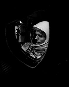 Command pilot Neil Armstrong seen through the window of Gemini 8 just before liftoff, 16/3/1966