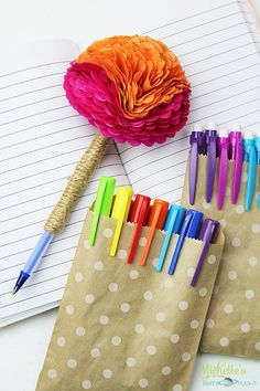 Colorful tissue paper flower pen perfect with a guest book or as a diy tissue paper flower pen mightylinksfo