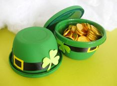 Create little leprechaun hat bowls for St. Patty's.   Way too cute!