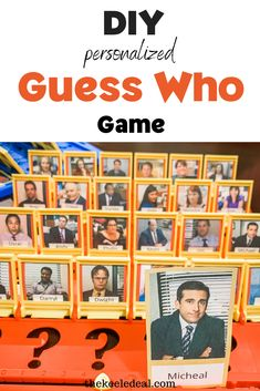 Make this DIY personalized Guess Who Game with photos from any of your favorite TV shows. We used photos of the cast from The Office Photos for this Guess Who Game. #Guesswhogame #DIY Diy Christmas Gifts, Christmas Projects, Christmas Photos, Family Christmas, Christmas And New Year, All Things Christmas, Viria, Gifts For Office, Romantic Gifts