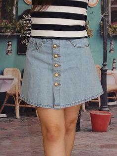 Light Blue Button Denim Skirt