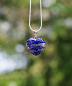 Lapis Lazuli Stone Heart Pendant Necklace on a Sterling Silver