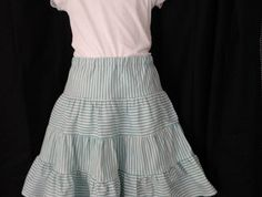 Size 10 - tiered skirt in teal/turquoise cotton