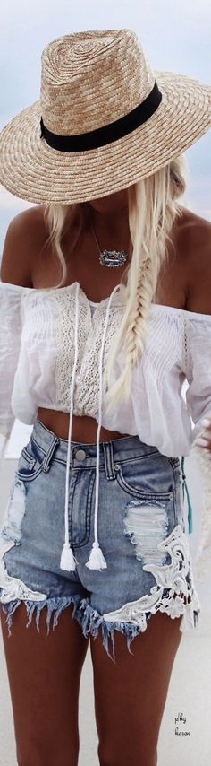 off the shoulder crop top and lace accent denim cutoffs
