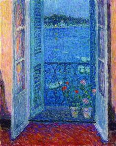 1926.Window at Twilight, Villefranche-sur-Mer (Henri Le Sidaner)
