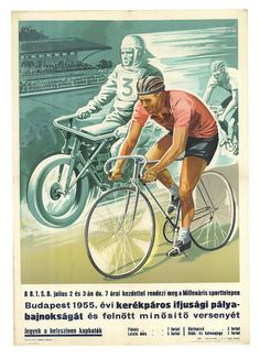 Youth Cup Track Cycling Original Vintage Hungarian Bicycle Poster circa 1955