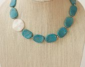 Carolina Blue and White Statement necklace with silver accents