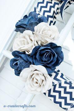 Denim Wreath Tutorial - in only 10 minutes!! Quick craft idea.