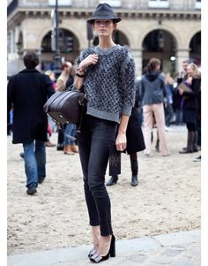 A chocolate Sofia Coppola for Louis Vuitton handbag adds a nice touch to this monochromatic theme.   - HarpersBAZAAR.com