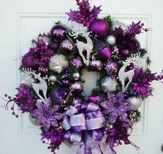 Purple Silver Christmas Wreath Reindeer | eBay