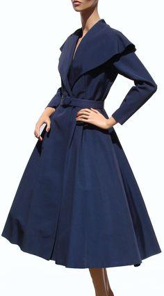 1950s princess-cut circle skirt coat.  Such a tremendous colour!
