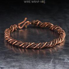 Amethyst Bracelet, Copper Bracelet, Copper Jewelry, Wire Jewelry, Jewelery, Copper Wire, Pure Copper, Jewelry Rings, Men's Jewellery