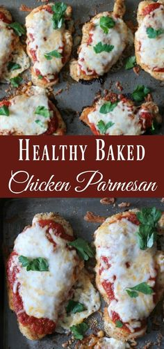 Check out this Healthy Baked Chicken Parmesan Recipe. Easy sheet pan recipe that uses simple ingredients and baked in the oven. This my favorite lightened-up Italian recipe. The post Healthy Baked Chicken Parmesan appeared first on MIkas Recipes . Comida Diy, Healthy Chicken Parmesan, Healthy Chicken Bake Recipes, Beef Recipes, Healthy Tasty Recipes, Chicken Recipes In Oven, Zoodle Recipes, Soup Recipes, Chicken Parmesean