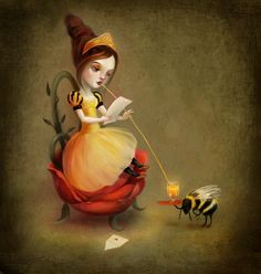 Queen Bee print - love letter fairy print honey bee art children's art children's illustration - by Lisa Falzon - print Illustration Arte, Bee Painting, I Love Bees, Bee Art, Bee Happy, Pop Surrealism, Bees Knees, Letter Art, Letter Canvas