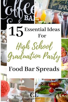These showstopping food bar spreads are guaranteed to please all who come to your high school graduation party. Perfect food bar ideas for outdoor graduation party ideas! Vintage Graduation Party, Outdoor Graduation Parties, Graduation Party Themes, Bar Ideas, Food Ideas, Diys, Spreads, College, High School