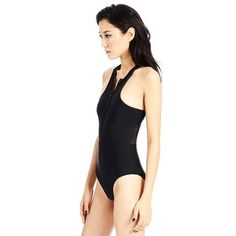 The Chromat Ella Suit: Black Lycra one-piece with zip front closure, racer back detail and black mesh contrast in back.     Model wears size Small.   Made in Ne