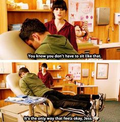 Ohhh! This is the episode where Nick hurts his back really bad. The bottom picture just kills me!! (: Jess and Nick in New Girl