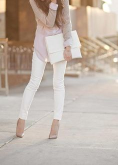Inspired by this to wear white crop pants, light grey striped tunic with nude shoes and nude belt over tunic.