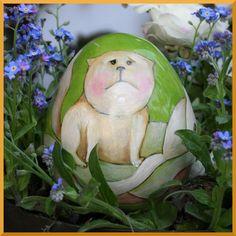 ceramiczne jajko malowane naszkliwnie Danuta Rożnowska-Borys  -BorysArt