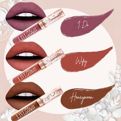 😍💋 Get ready to live happily ever after with these gorgeous lippies! 💍👰 I Do: Matte mauve lippie! Wifey: Matte terracotta shade Honeymoon: Matte, hazelnut brown lippie Get yours now on http Day Makeup, Skin Makeup, Makeup Tips, Beauty Makeup, Makeup Trends, Makeup Inspo, Vintage Makeup Looks, Essential Makeup Brushes, Lime Crime