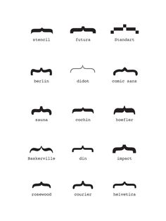 superpapa: maree: teaim: Typographic moustaches by Publicité Actuelle just in time for Moustache May. Hoefler and Baskerville do not d. Lettering, Typography Letters, Typography Design, Comic Sans, Moustaches, Fake Mustaches, Type Design, Graphic Design, Web Design