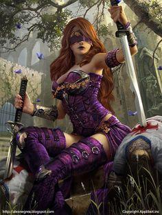 female, woman, brown/red hair, purple cloths, blind, assassin.