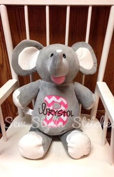 Personalized Stuffed Animal Monogrammed Baby by SewStylinStitches