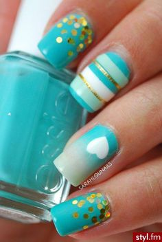 Turquoise & gold glitter nail design - stripes, hearts, ombré