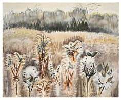 """Brown Land"" watercolor and charcoal on joined paper, 1962-63. Charles Burchfield: Landscapes 1916-1962 - Exhibitions - DC Moore Gallery"