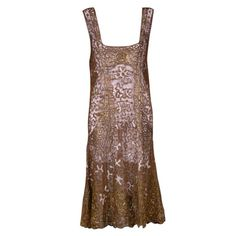 French 1920's Gilt Lace Dress #VintageCocktailDresses
