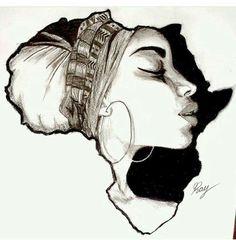 Drawing On Creativity Africa Cross Stitch Pattern - African Art Decor Cross Stitch - African Hand Embroidery Pattern - Bla - Black Love Art, Black Girl Art, Art Girl, Black Art Painting, Black Artwork, Afrika Tattoos, Africa Drawing, Black Art Tattoo, Tattoo Art