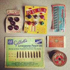 Some of the amazing vintage packaging from my Nan's sewing collection that I am putting into a shadow box! Packaging isn't the same as it used to be. by Kirbee {Sugar Sweet Dreams}, via Flickr