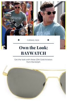 57f3c5b8db Get Zac Efron s look in Baywatch with these Gold Aviator Sunglasses from  Randolph. photo