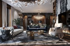 Living Room Interior, Home Living Room, Living Room Designs, Luxury Homes Interior, Luxury Apartments, Interior Design, Luxury Dining Room, Luxury Living, Modern Bedroom Design