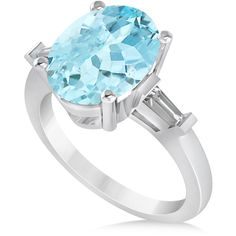 Allurez Oval & Baguette Cut Aquamarine Engagement Ring 14k White Gold... ($3,930) ❤ liked on Polyvore featuring jewelry, rings, blue engagement rings, oval cut engagement rings, blue ring, 14k engagement ring and aquamarine rings